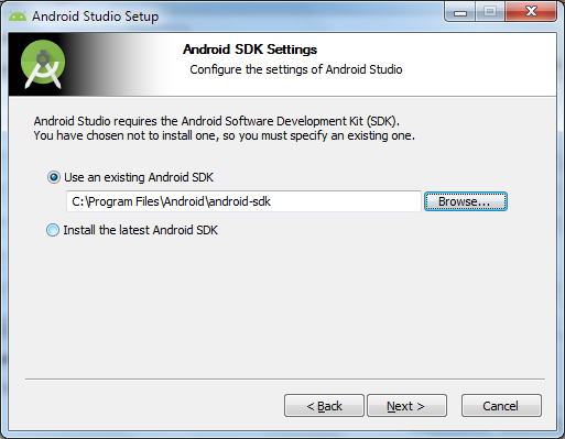 Android SDK settings